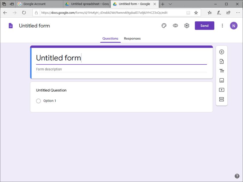 Halaman awal Google Form