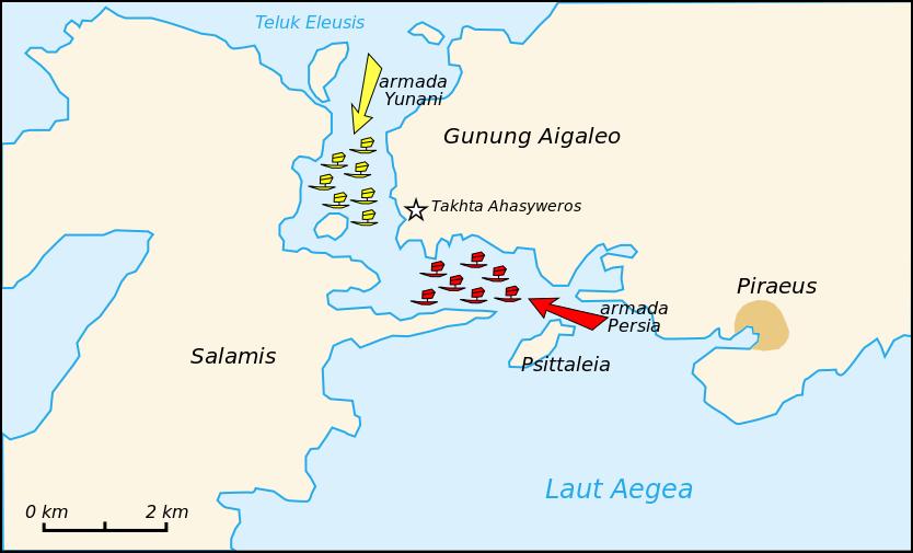 Lokasi Pertempuran Salamis yang terjadi pada 2500 tahun yang lalu