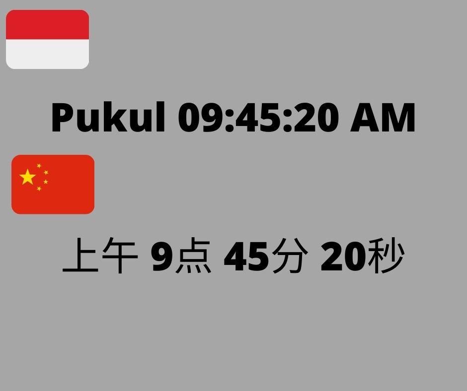 Perbedaan dalam Bahasa Indonesia dan Bahasa Mandarin saat menulis AM / PM, Jam, Menit, dan Detik. Sumber: Dokumentasi Penulis