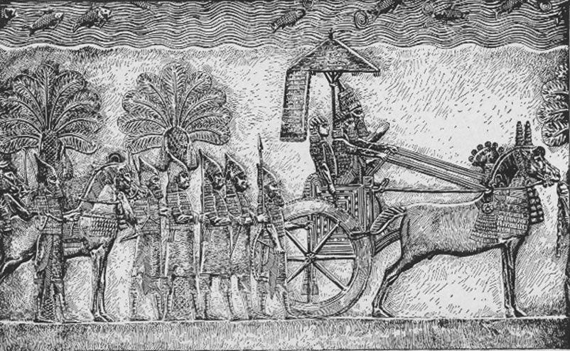 Raja Sanherib dalam perang Babelonia, di istananya Niniwe