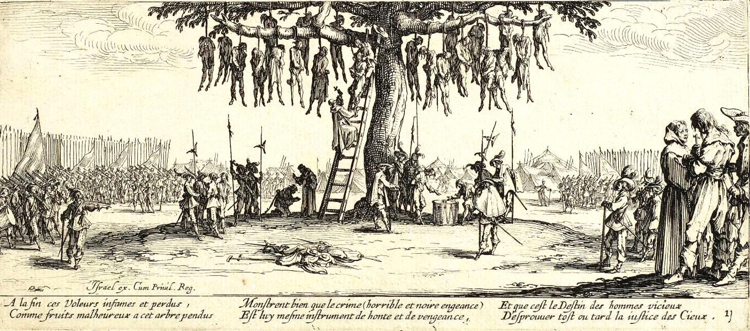 La pendaison dari seri lukisanLes Grandes Misères de la guerrekarya Jacques Callot. Sumber gambar: wikimedia.org