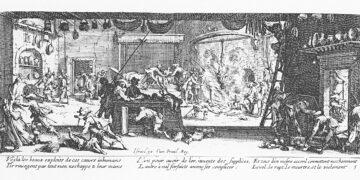 18 Lukisan abad 17 Les Grandes Misères de la guerre tentang Perang Eropa 16