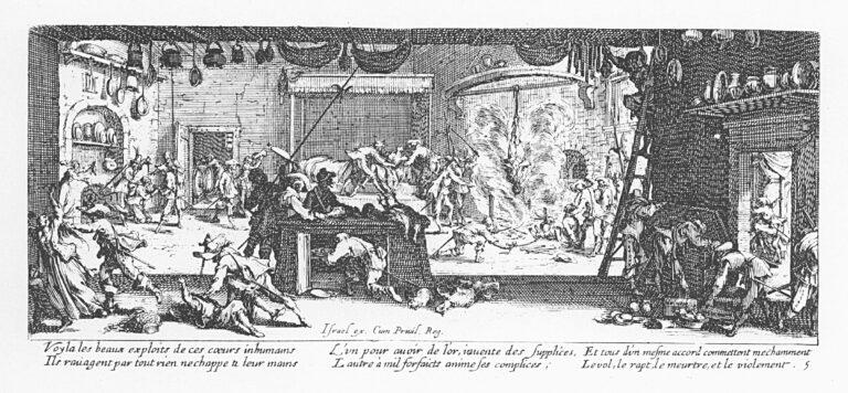 18 Lukisan abad 17 Les Grandes Misères de la guerre tentang Perang Eropa 1