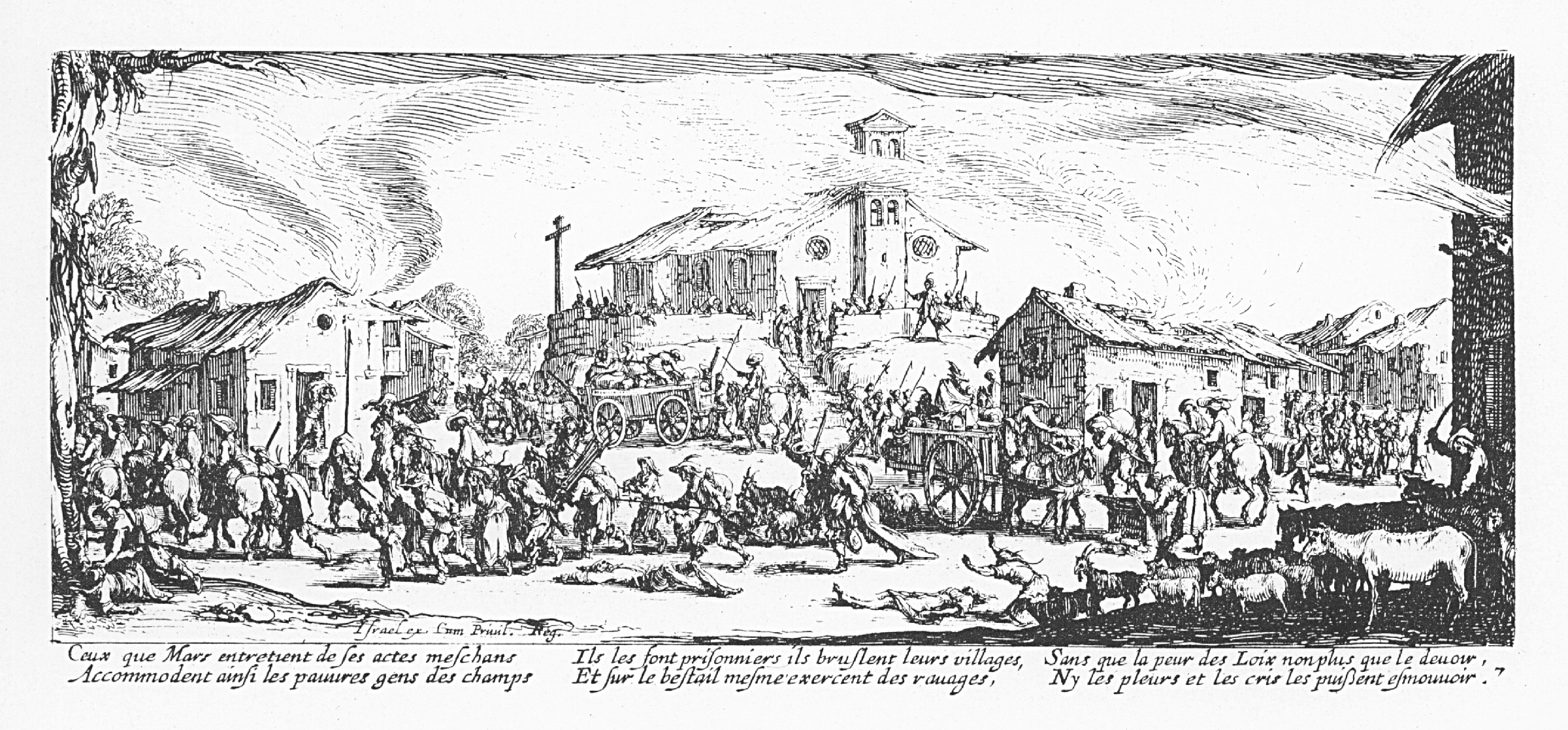 Pillage et incendie d'un village.Sumber gambar: wikimedia.org