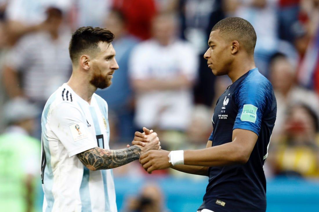 Messi dan Mbappe dalam pertandingan antar negara, beberapa waktu lalu.