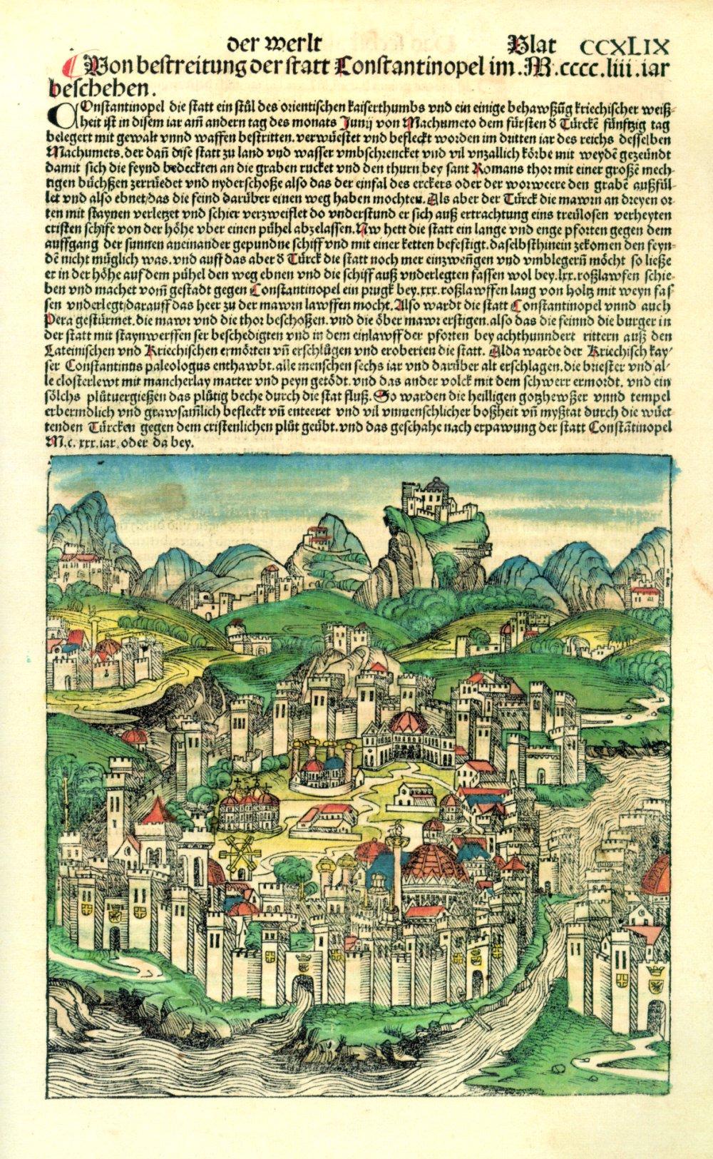 Salah satu halaman dariNuremberg Chronicle, yang menampilkan deskripsi dan ilustrasi kota Konstantinopel. Sumber gambar: wikimedia.org