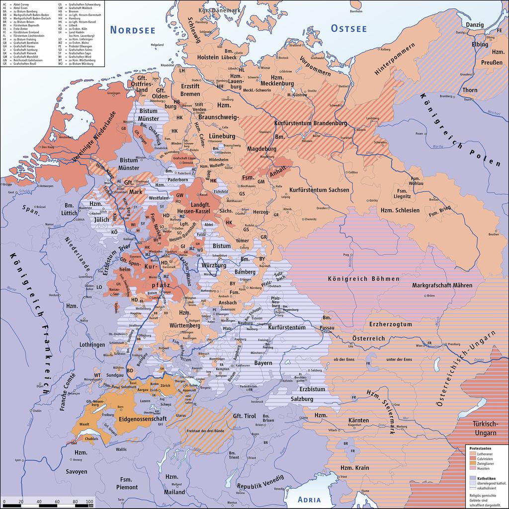 Peta persebaran kelompok religius di Kekaisaran Romawi Suci sekitar tahun 1618.Sumber gambar: wikimedia.org