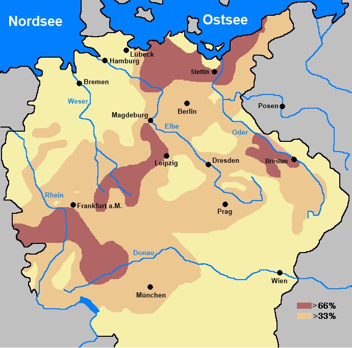 Peta persentase berkurangnya populasi di Jerman akibat Perang 30 Tahun Eropa. Sumber gambar: wikimedia.org