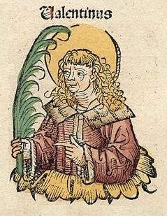 Santo Valentinus dalam Nuremberg Chronicle. Sumber gambar: katakombe.org
