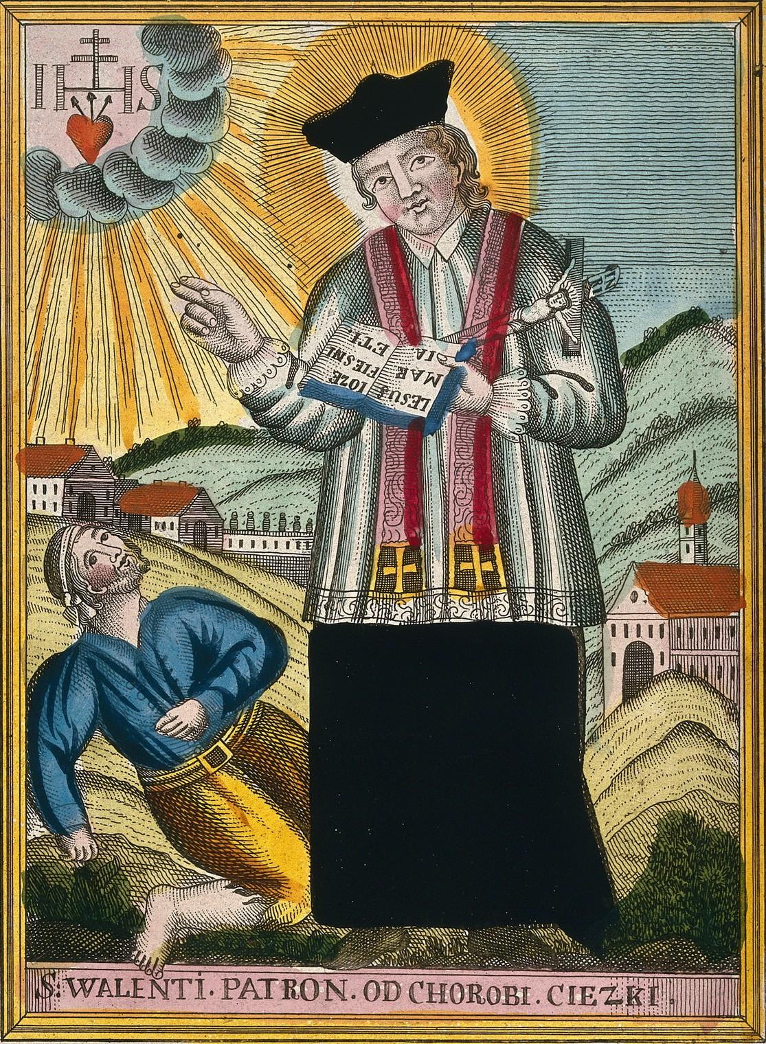 Santo Valentinus dan seorang penderita epilepsi. Sumber Gambar: katakombe.org