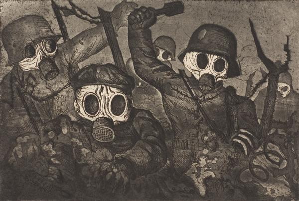 Stormtroopers Advance Under a Gas Attack, salah satu lukisan dari seri lukisanDer Krieg/The War karya seniman Jerman Otto Dix.Sumber gambar: wikimedia.org