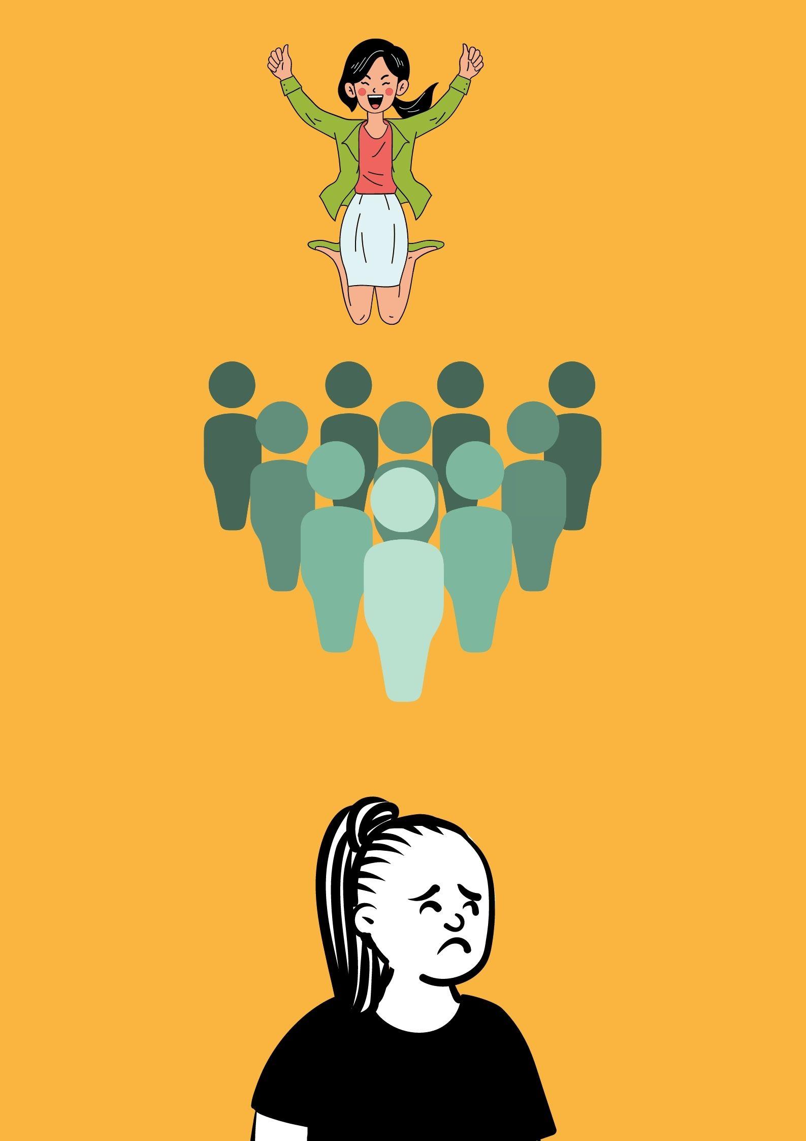 Ilustrasi dari makna peribahasa强颜欢笑dibacaqiǎng yán huān xiàoyang sering dijumpai dalam kehidupan bermasyarakat. Sumber: Dokumentasi Penulis