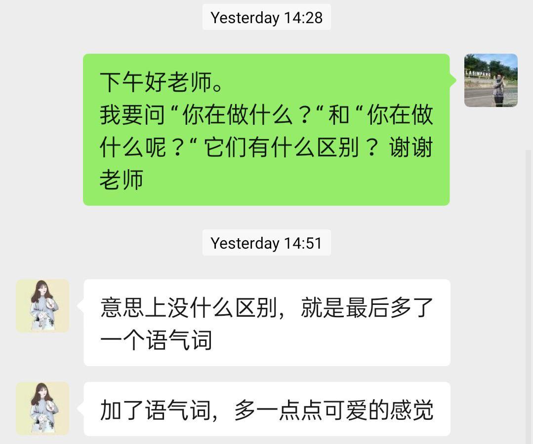 Percakapan Penulis dengan Lao Shi Yuan mengenai perbedaan kedua format kalimat tersebut. Sumber: Dokumentasi Penulis