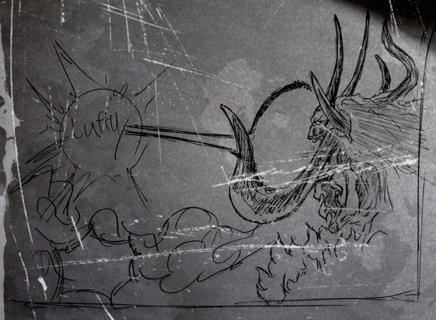 Potret Kaido dalam hybrid form, sedang menembakan laser dari mulutnya kearah Monkey D. Luffy. Sumber: worstgen.alwaysdata.net