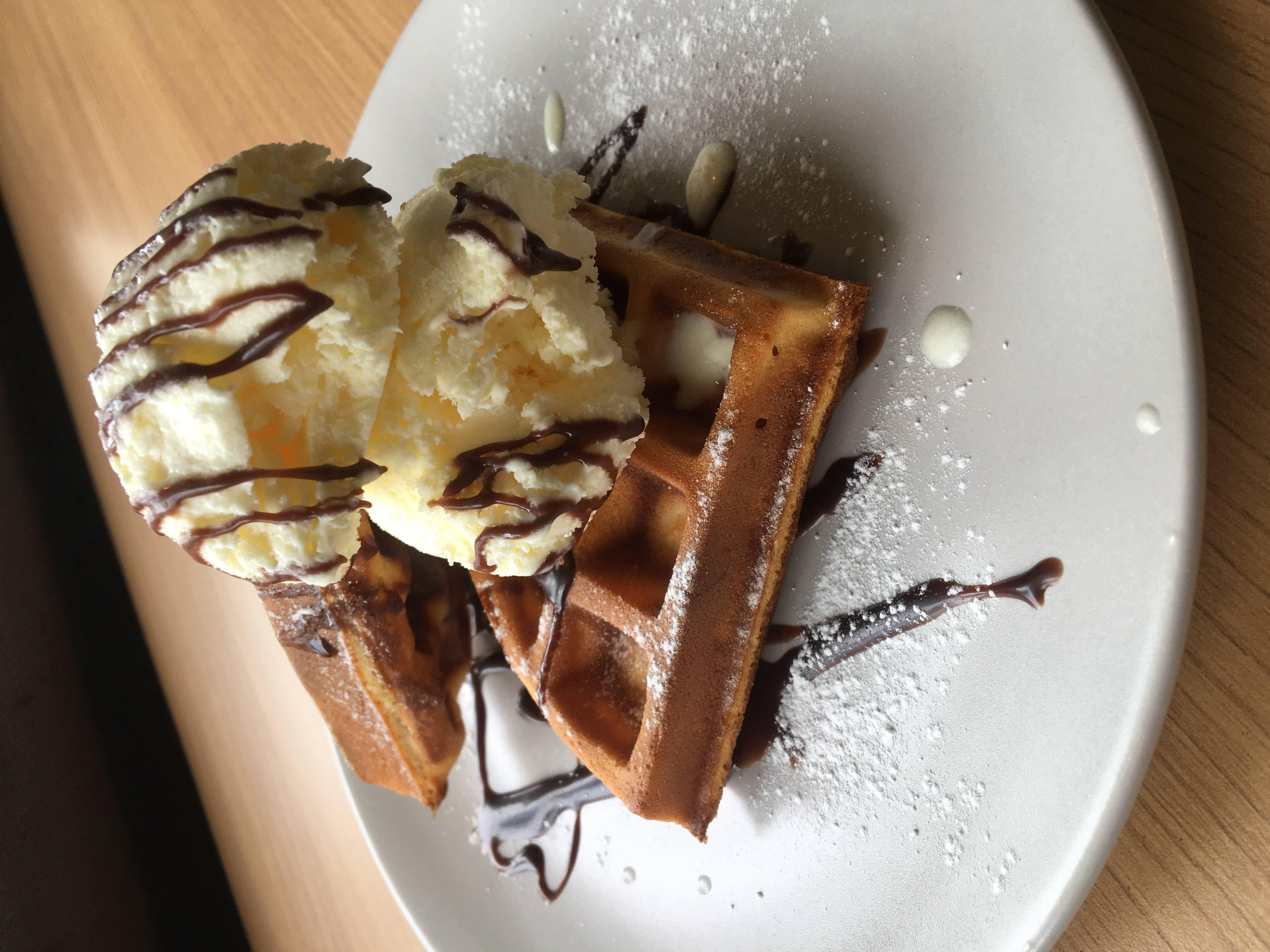 Waffle with Chocolate Sauce and Vanilla Ice Cream