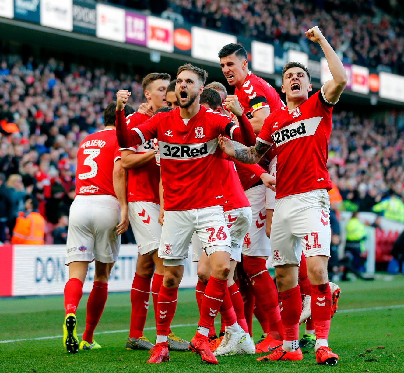 Luapan kegembiraan Middlesbrough saat merayakan golnya
