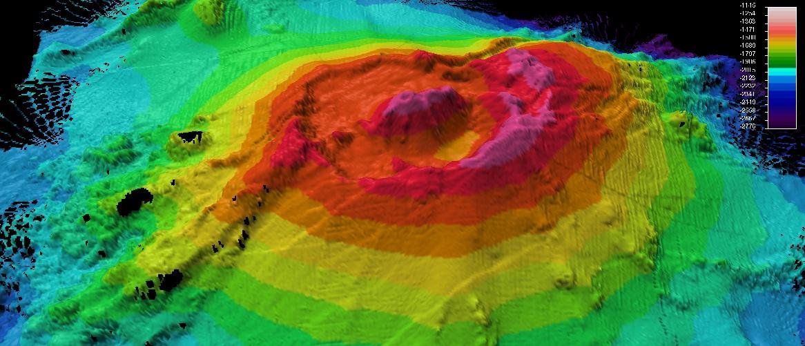 Hasil pemetaan gunung api dibawah laut yang berhasil dilakukan di lautan Selandia Baru. (dok. scoop NZ)