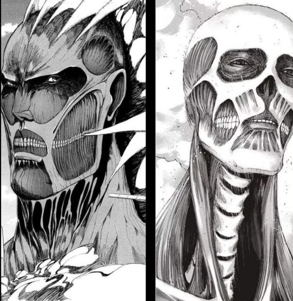 Dari kiri: Titan versi Bertholdt, Titan versi Armin