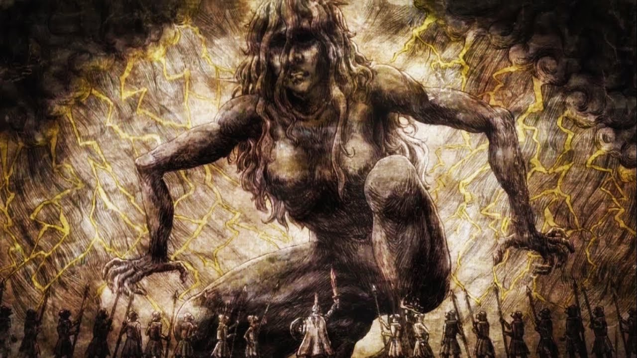 Gambaran Ymir sebagai Titan pertama