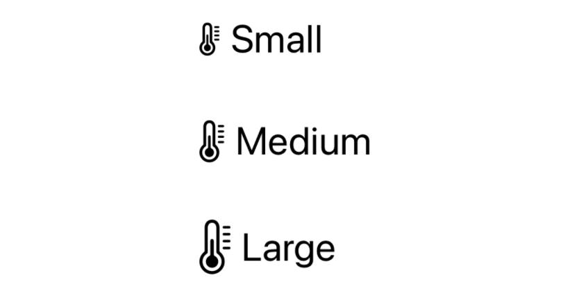 Pengaturan skala simbol, dan perbandingannya dengan teks