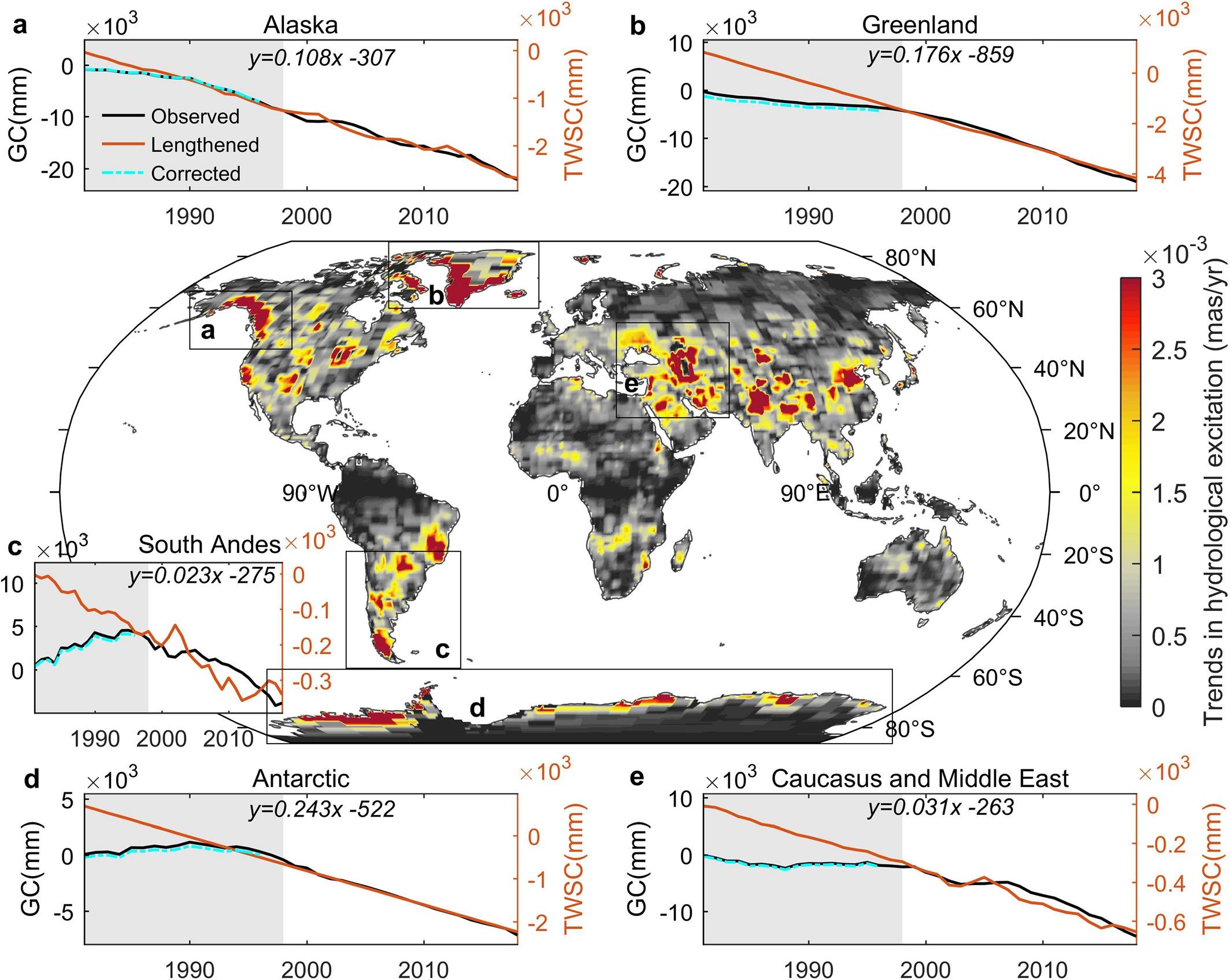 Grafik yang diterbitkan Jurnal Penelitian Geofisika (AGU) memperlihatkan jumlah lapisan es yang terus menurun diberbagai lokasi seperti di Antartika, Andes selatan, Alaska, Greenland dari tahun 1990-2010. (dok. Jurnal AGU)
