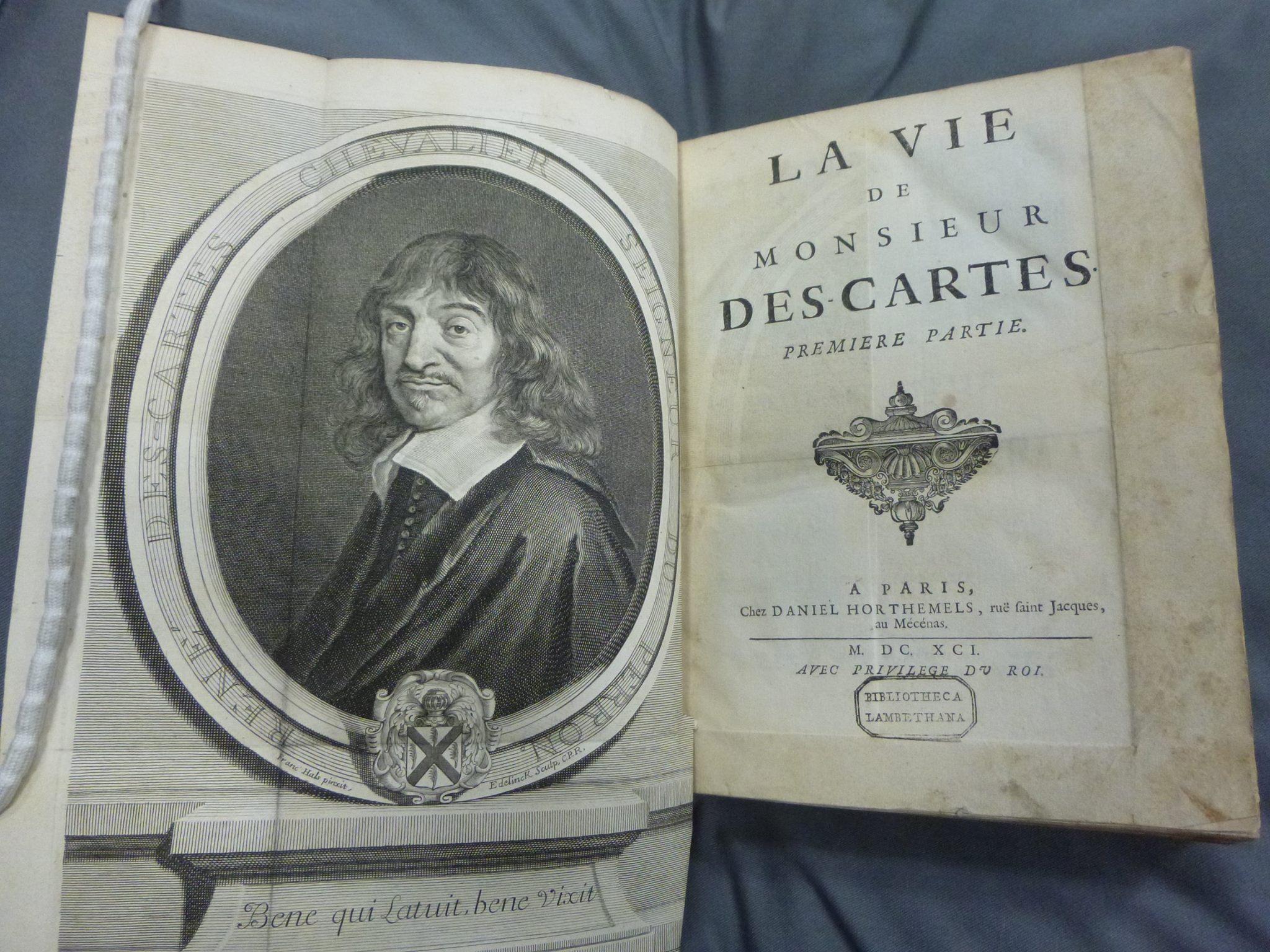MottoRené Descartes dalam buku biografinyaLa vie de monsieur Descartes. Sumber gambar:Lambeth Palace Library