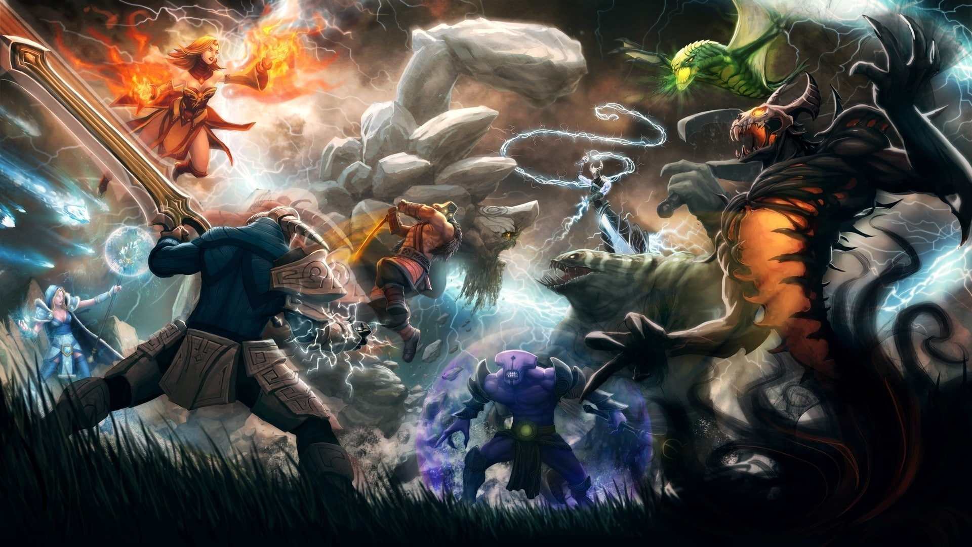 Karakter dalam permainan Dota 2 yang sedang bertempur Foto: Valve
