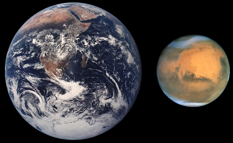 Perbandingan Ukuran Bumi dan Mars
