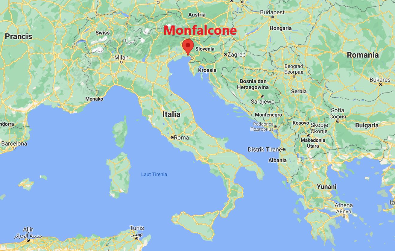 Lokasi Monfalcone. Peta diambil dari tangkapan layar Google Maps.