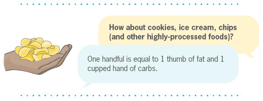 Estimasi takaran cemilan (sumber : precisionnutrition.com)