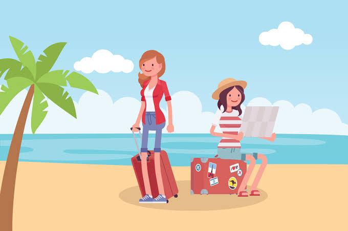 Ilustrasi orang pergi ke tempat wisata.