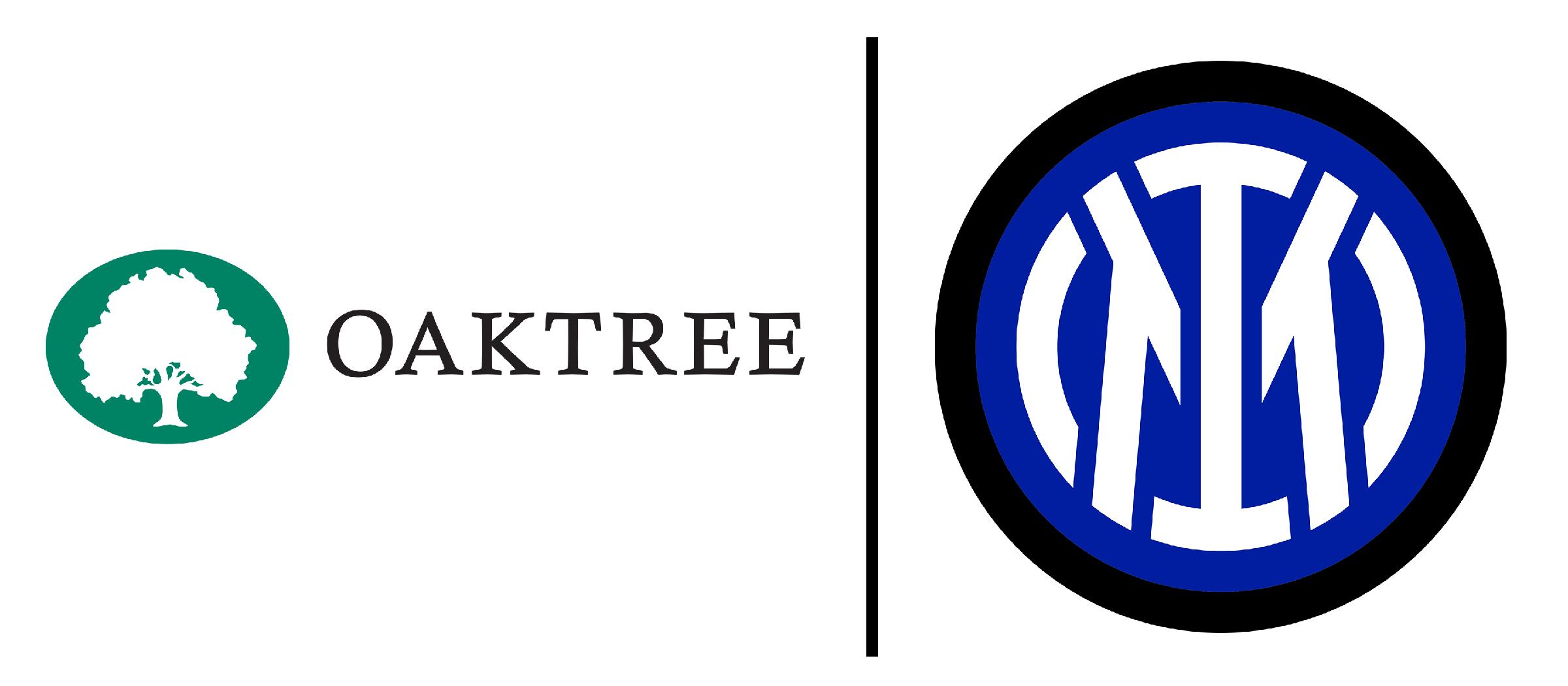 Ilustrasi logo Inter Milan dan Oaktree, diedit oleh RK Awan. Sumber gambar-gambar: wikimedia.org